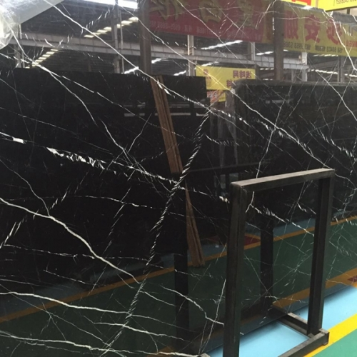 Black Nero Marquina Marble Flooring Wall Tiles and Slabs