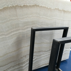 Translucent Wooden White Onyx Marble Slabs Countertops Table Top Tiles